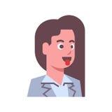 Θηλυκός παρουσιάστε απομονωμένο πρόσωπο έννοιας έκφρασης του προσώπου γυναικών ειδώλων συγκίνησης γλωσσών εικονίδιο απεικόνιση αποθεμάτων