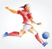 Θηλυκός ποδοσφαιριστής που κλωτσά τη σφαίρα διανυσματική απεικόνιση