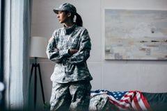 Θηλυκός στρατιώτης αφροαμερικάνων Στοκ φωτογραφίες με δικαίωμα ελεύθερης χρήσης