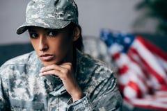 Θηλυκός στρατιώτης αφροαμερικάνων Στοκ Εικόνα