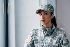 Θηλυκός στρατιώτης αφροαμερικάνων Στοκ εικόνα με δικαίωμα ελεύθερης χρήσης