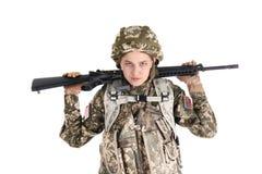 Θηλυκός στρατιώτης με το πολυβόλο Στοκ φωτογραφία με δικαίωμα ελεύθερης χρήσης