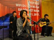 Θηλυκός τραγουδιστής με το μικρόφωνο Στοκ Φωτογραφίες