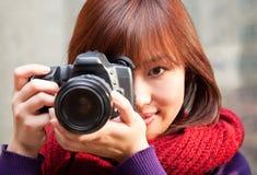 θηλυκός φωτογράφος στοκ φωτογραφία