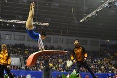 Θηλυκός gymnast που αποδίδει κατά τη διάρκεια της Στέλλα Zakharova του Artistic Gymnastics Ουκρανία διεθνούς φλυτζανιού Στοκ φωτογραφία με δικαίωμα ελεύθερης χρήσης