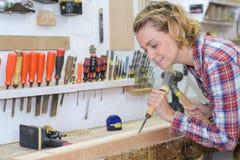 Θηλυκός woodworker με τη διάτρυση τρυπανιών δύναμης στον ξύλινο πίνακα Στοκ φωτογραφίες με δικαίωμα ελεύθερης χρήσης