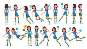 Θηλυκό διάνυσμα φορέων χάντμπολ Στη δράση Αθλητική εκδήλωση Ενέργεια, επιθετικότητα Απεικόνιση χαρακτήρα κινουμένων σχεδίων ελεύθερη απεικόνιση δικαιώματος