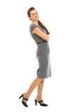 θηλυκό πλήρες ευτυχές πορτρέτο μήκους υπαλλήλων στοκ εικόνες με δικαίωμα ελεύθερης χρήσης