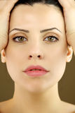 θηλυκό πράσινο πρότυπο πορτρέτο ματιών στοκ φωτογραφίες
