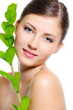 Θηλυκό πρόσωπο με ένα καθαρό υγιές δέρμα Στοκ Εικόνες