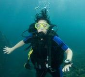 θηλυκό σκάφανδρο δυτών στοκ φωτογραφία με δικαίωμα ελεύθερης χρήσης