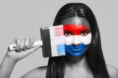 Θηλυκό στα εθνικά χρώματα των Κάτω Χωρών Στοκ φωτογραφίες με δικαίωμα ελεύθερης χρήσης