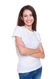 Θηλυκό στην άσπρη μπλούζα στοκ εικόνα με δικαίωμα ελεύθερης χρήσης