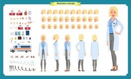 Θηλυκό σύνολο δημιουργιών χαρακτήρα γιατρών Μπροστινός, δευτερεύων, πίσω ζωντανεψοντας άποψη χαρακτήρας Δημιουργία χαρακτήρα γιατ απεικόνιση αποθεμάτων