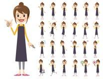 Θηλυκό σύνολο χαρακτήρα Διάφορος θέτει και συγκινήσεις Διανυσματική απεικόνιση