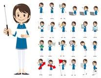 Θηλυκό σύνολο χαρακτήρα Παρουσίαση στη διάφορη δράση Απεικόνιση αποθεμάτων