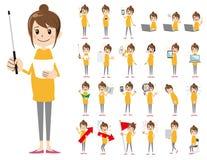 Θηλυκό σύνολο χαρακτήρα Παρουσίαση στη διάφορη δράση Ελεύθερη απεικόνιση δικαιώματος