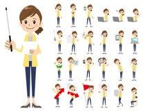 Θηλυκό σύνολο χαρακτήρα Παρουσίαση στη διάφορη δράση Διανυσματική απεικόνιση