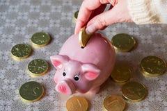 Θηλυκό χέρι με το χρυσό νόμισμα σοκολάτας και τη piggy τράπεζα στοκ φωτογραφίες