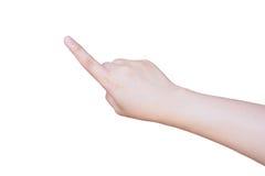 Θηλυκό χέρι που αγγίζει ή που δείχνει κάτι που απομονώνεται στο λευκό Στοκ Εικόνες