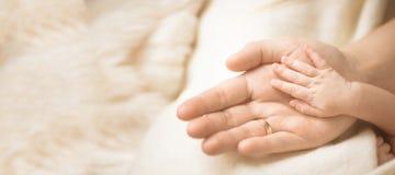 Θηλυκό χέρι που κρατά το νεογέννητο χέρι μωρών της ` s Mom με το παιδί της Μητρότητα, οικογένεια, έννοια γέννησης Διάστημα αντιγρ στοκ φωτογραφίες