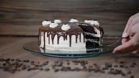 Θηλυκό χέρι τοπ άποψης που παίρνει το κομμάτι του εύγευστου κέικ σοκολάτας απόθεμα βίντεο