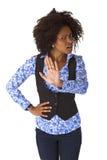 Θηλυκό Afro Αμερικανός λέει το αριθ. Στοκ Φωτογραφία