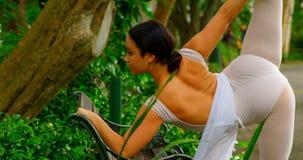Θηλυκό ballerina που κάνει την τεντώνοντας άσκηση στον πάγκο 4k απόθεμα βίντεο