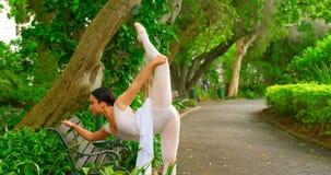 Θηλυκό ballerina που κάνει την τεντώνοντας άσκηση στο πάρκο 4k απόθεμα βίντεο