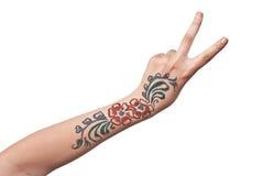 θηλυκό floral nacre χεριών πρότυπο Στοκ φωτογραφίες με δικαίωμα ελεύθερης χρήσης