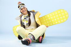 θηλυκό snowboarder Στοκ φωτογραφίες με δικαίωμα ελεύθερης χρήσης