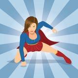Θηλυκό Superhero με το κόκκινο ακρωτήριο Στοκ φωτογραφία με δικαίωμα ελεύθερης χρήσης
