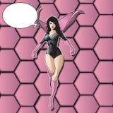 θηλυκό superhero πετάγματος Στοκ εικόνα με δικαίωμα ελεύθερης χρήσης