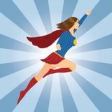 Θηλυκό Superhero που πετά με τη σφιγγμένη πυγμή Στοκ φωτογραφίες με δικαίωμα ελεύθερης χρήσης