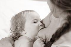 Θηλάζοντας μωρό Πορτρέτο Mom και θηλασμός μωρών Στοκ φωτογραφία με δικαίωμα ελεύθερης χρήσης