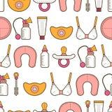 θηλασμός Άνευ ραφής σχέδιο, υπόβαθρο με τα χρωματισμένα επίπεδα εικονίδια μητρότητα διάνυσμα Στοκ Εικόνες
