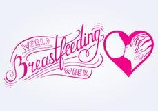 θηλασμός Εβδομάδα παγκόσμιου θηλασμού Διανυσματική απεικόνιση για τη διαφήμιση, προώθηση, εμβλήματα Στοκ Φωτογραφίες
