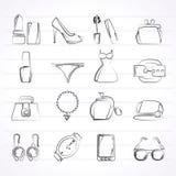 Θηλυκά αντικείμενα μόδας και εικονίδια εξαρτημάτων Στοκ Εικόνα