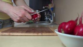 Θηλυκά λαχανικά ραδικιών περικοπών χεριών στον τέμνοντα πίνακα για τη σαλάτα 4K απόθεμα βίντεο