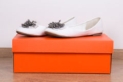 Θηλυκά θερινά παπούτσια και κιβώτιο δέρματος Στοκ εικόνες με δικαίωμα ελεύθερης χρήσης