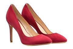 Θηλυκά κόκκινα παπούτσια σουέτ Στοκ φωτογραφία με δικαίωμα ελεύθερης χρήσης