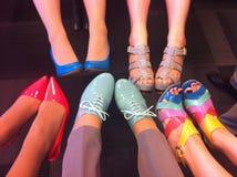 θηλυκά παπούτσια ποδιών μό&del Ζωηρόχρωμα παπούτσια μόδας στα πόδια Στοκ Εικόνες