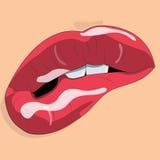 Θηλυκά προκλητικά κόκκινα χείλια κινούμενων σχεδίων Στοκ Εικόνες