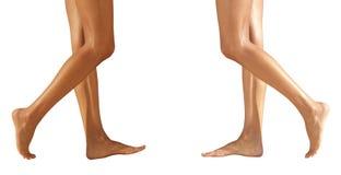 Θηλυκά πόδια δύο ζευγαριών σε ένα πάτωμα Στοκ Εικόνες