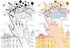 Θηλυκά σύννεφα σχεδίων χεριών στον ουρανό ελεύθερη απεικόνιση δικαιώματος