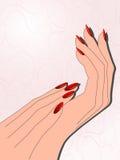 Θηλυκά χέρια με το κόκκινο μανικιούρ Στοκ φωτογραφία με δικαίωμα ελεύθερης χρήσης