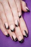 Θηλυκά χέρια με το μαύρο μανικιούρ στοκ εικόνες