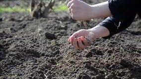 Θηλυκά χέρια που λειτουργούν στο έδαφος φιλμ μικρού μήκους