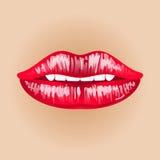 Θηλυκά χείλια στο nude σκηνικό Απεικόνιση του γλυκού πάθους Στόμα Makeup Φιλί γυναικών Στοκ Φωτογραφίες