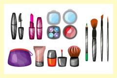 Θηλυκή βούρτσα γοητείας σχεδίου makeup μόδας διανυσματική απεικόνιση